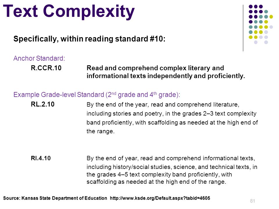 Text Complexity Specifically, within reading standard #10: