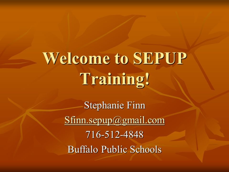 Welcome to SEPUP Training!
