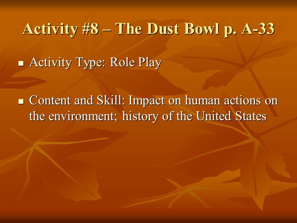 Activity #8 – The Dust Bowl p. A-33