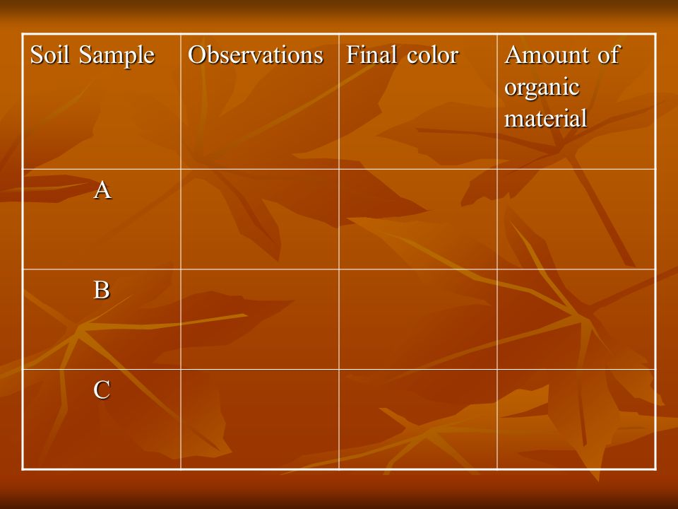 Soil Sample Observations Final color Amount of organic material A B C