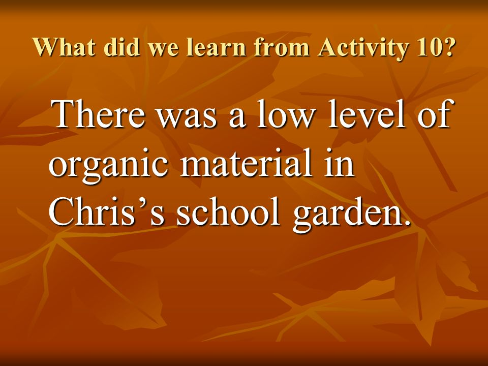 What did we learn from Activity 10