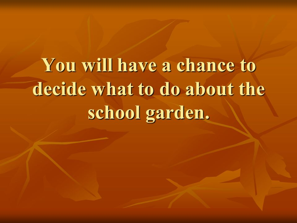 You will have a chance to decide what to do about the school garden.