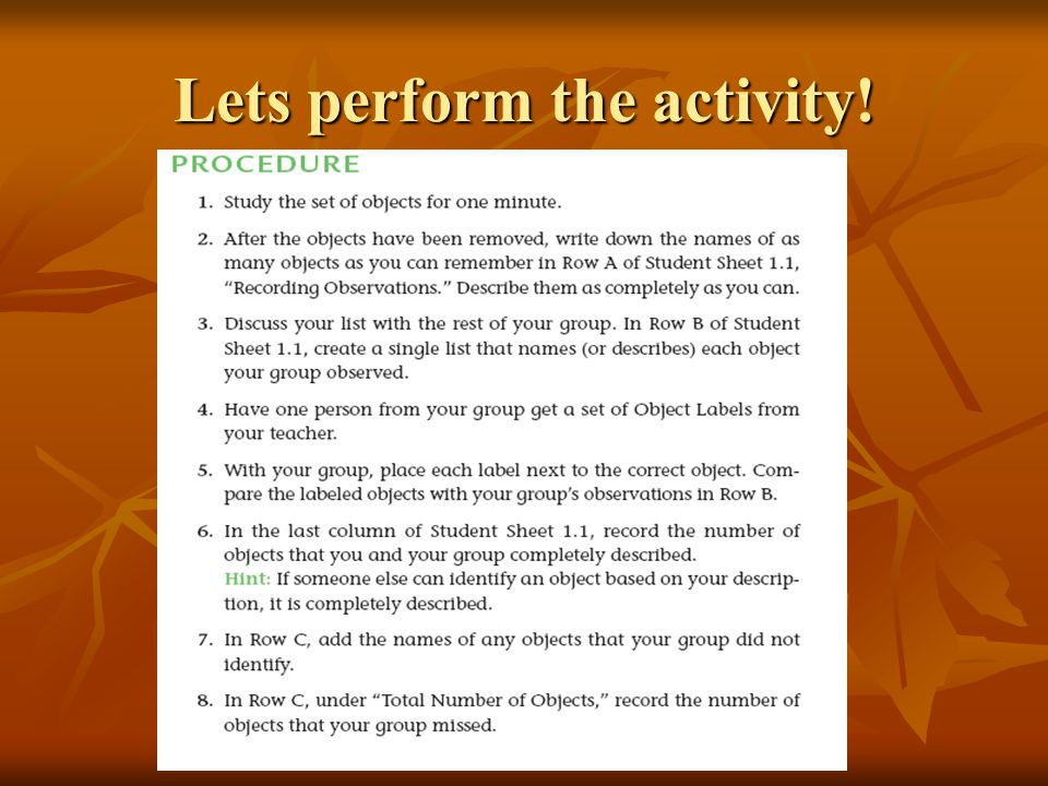 Lets perform the activity!