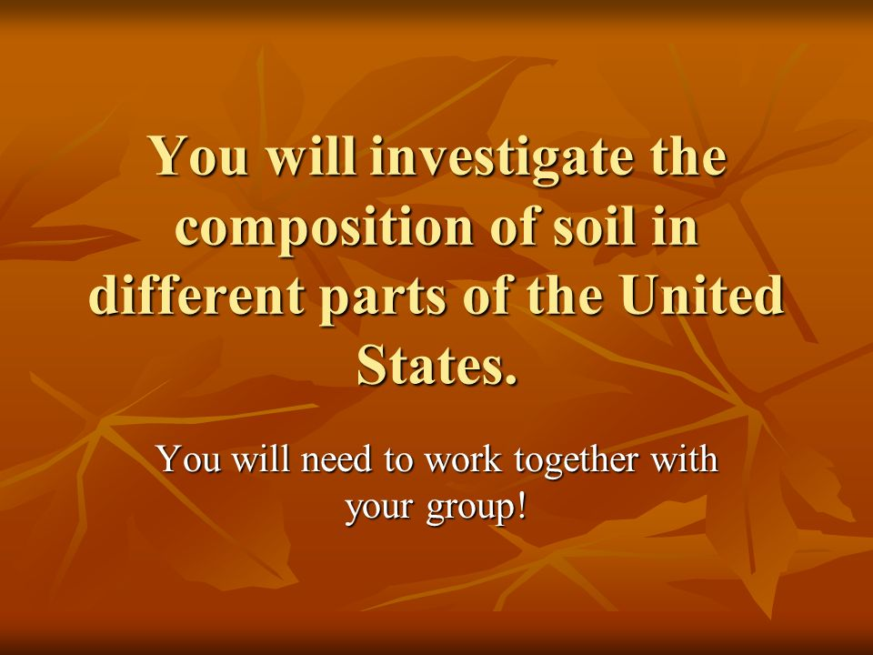 You will need to work together with your group!