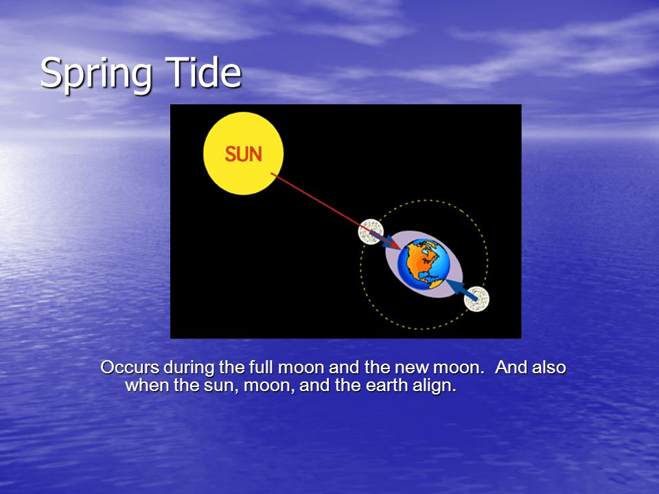 Spring Tide Occurs during the full moon and the new moon.