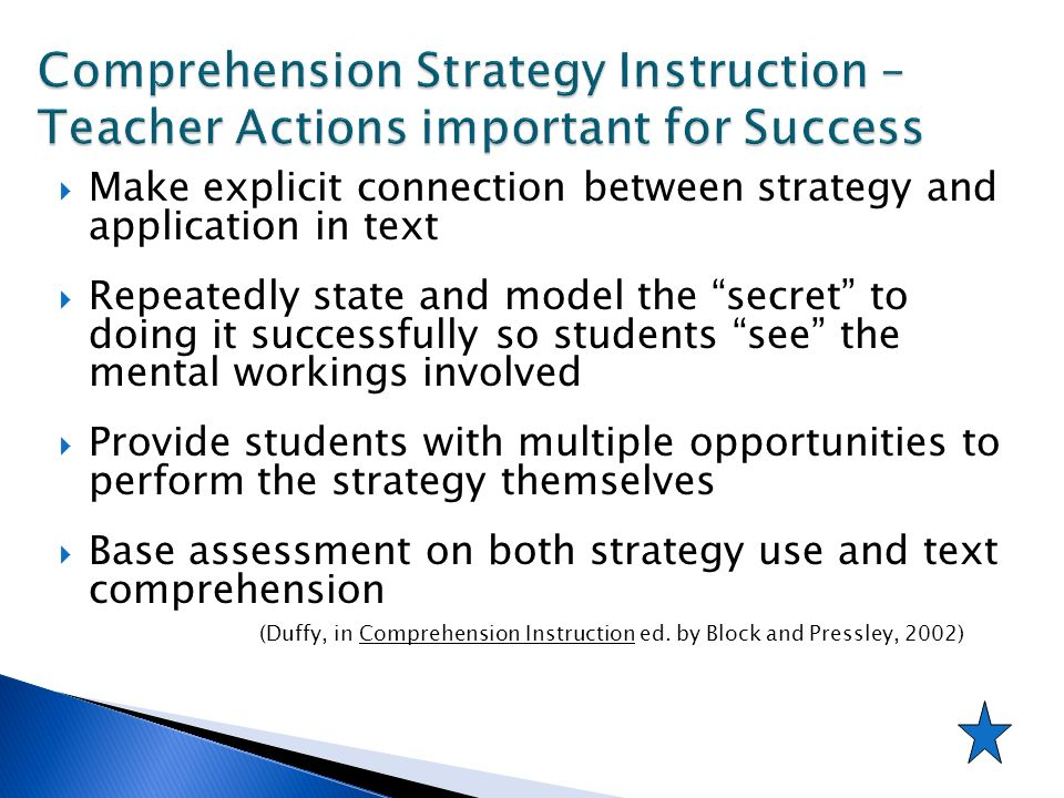 Comprehension Strategy Instruction – Teacher Actions important for Success