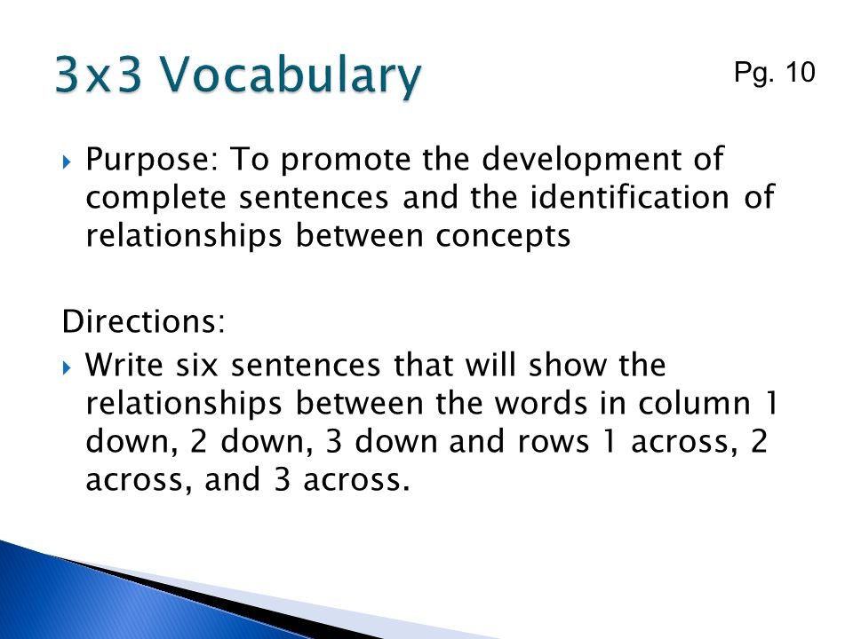 3x3 Vocabulary Pg. 10. Purpose: To promote the development of complete sentences and the identification of relationships between concepts.