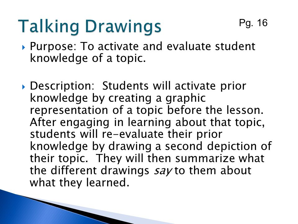 Talking Drawings Pg. 16. Purpose: To activate and evaluate student knowledge of a topic.