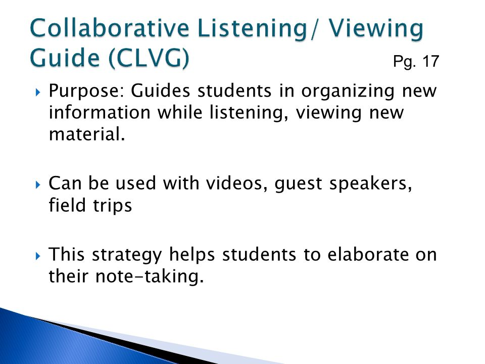 Collaborative Listening/ Viewing Guide (CLVG)