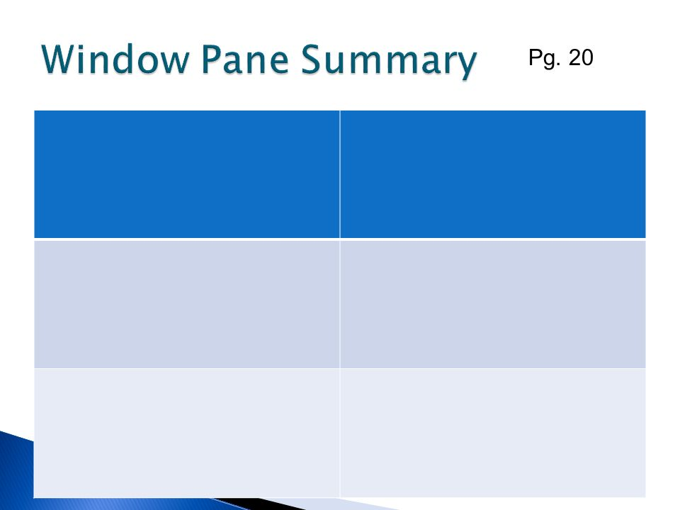Window Pane Summary Pg. 20