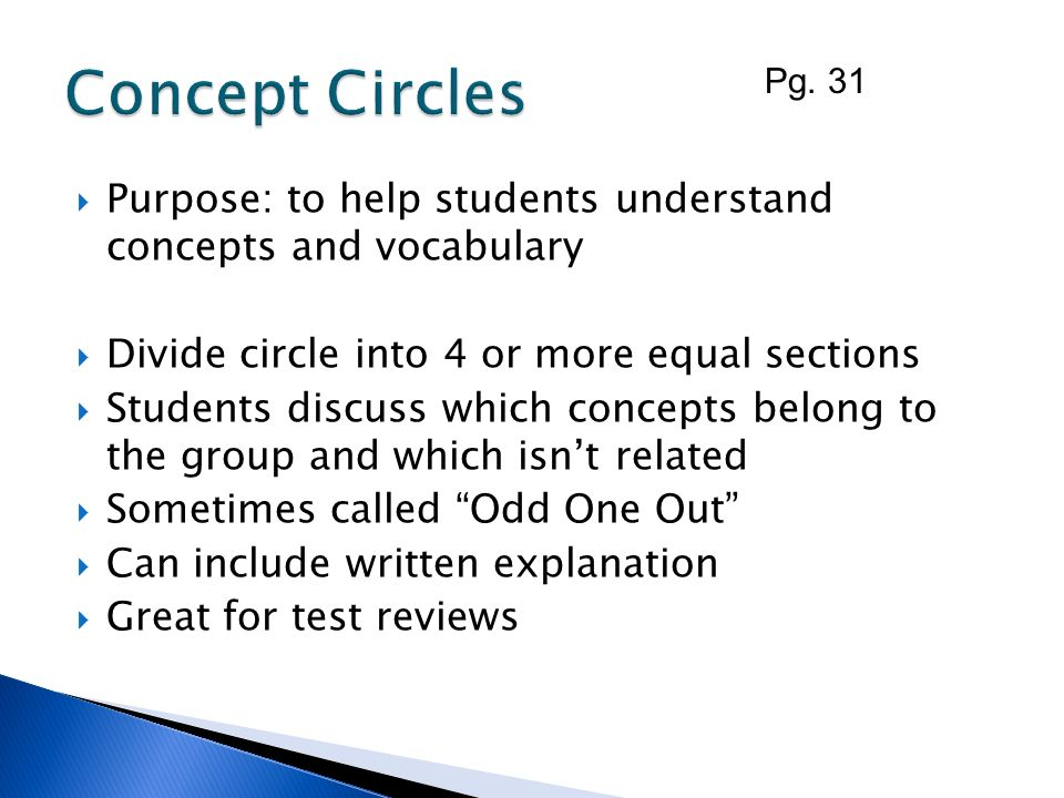Concept Circles Pg. 31. Purpose: to help students understand concepts and vocabulary. Divide circle into 4 or more equal sections.