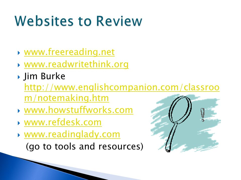 Websites to Review www.freereading.net www.readwritethink.org