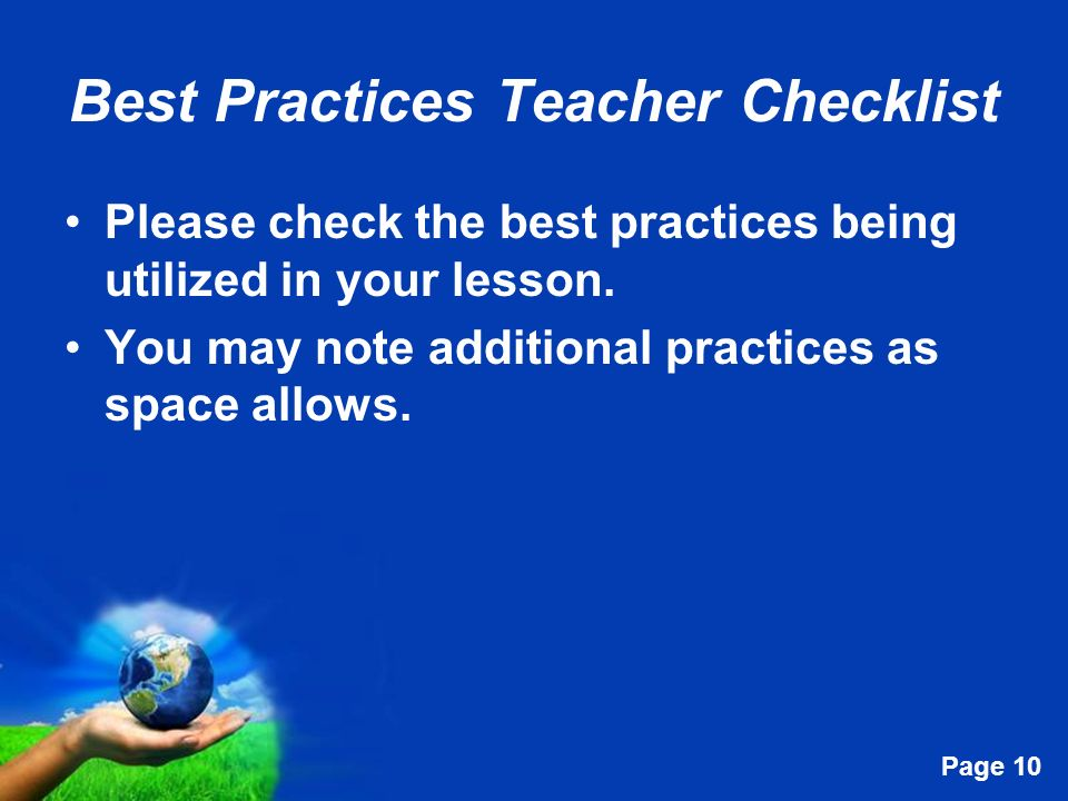 Best Practices Teacher Checklist