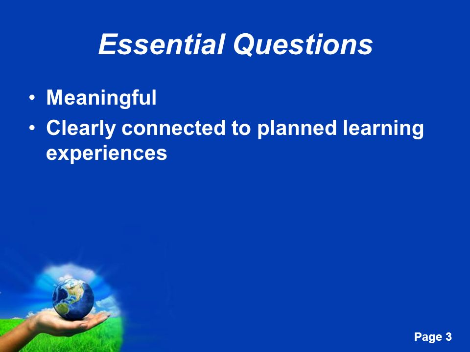 Essential Questions Meaningful