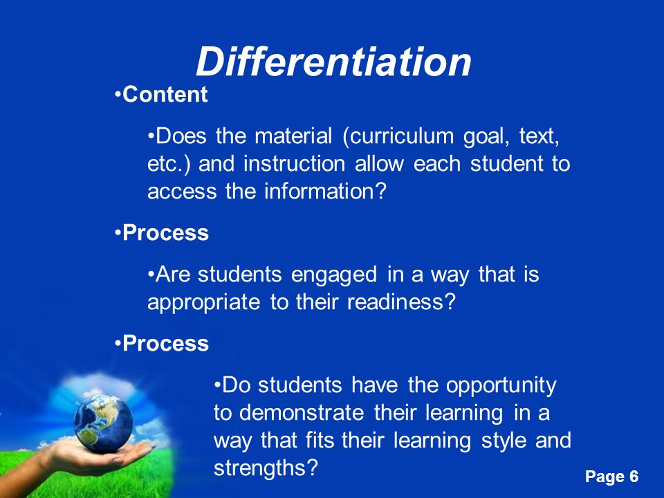 Differentiation Content