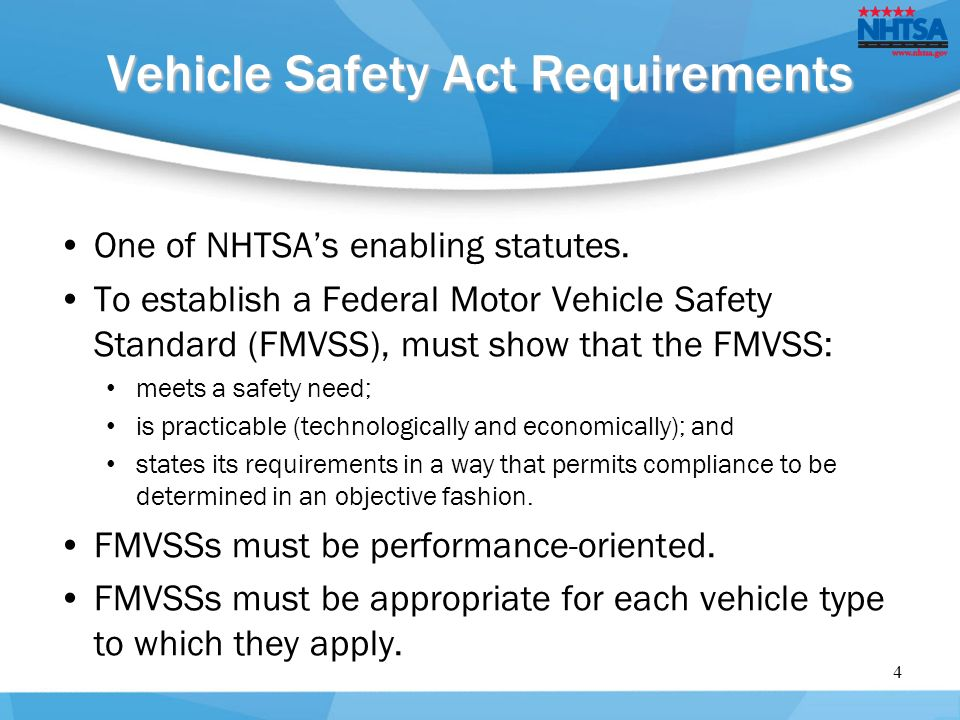 National highway traffic safety administration ppt download Motor vehicle safety