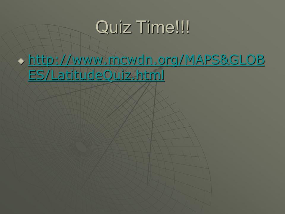 Quiz Time!!! http://www.mcwdn.org/MAPS&GLOBES/LatitudeQuiz.html