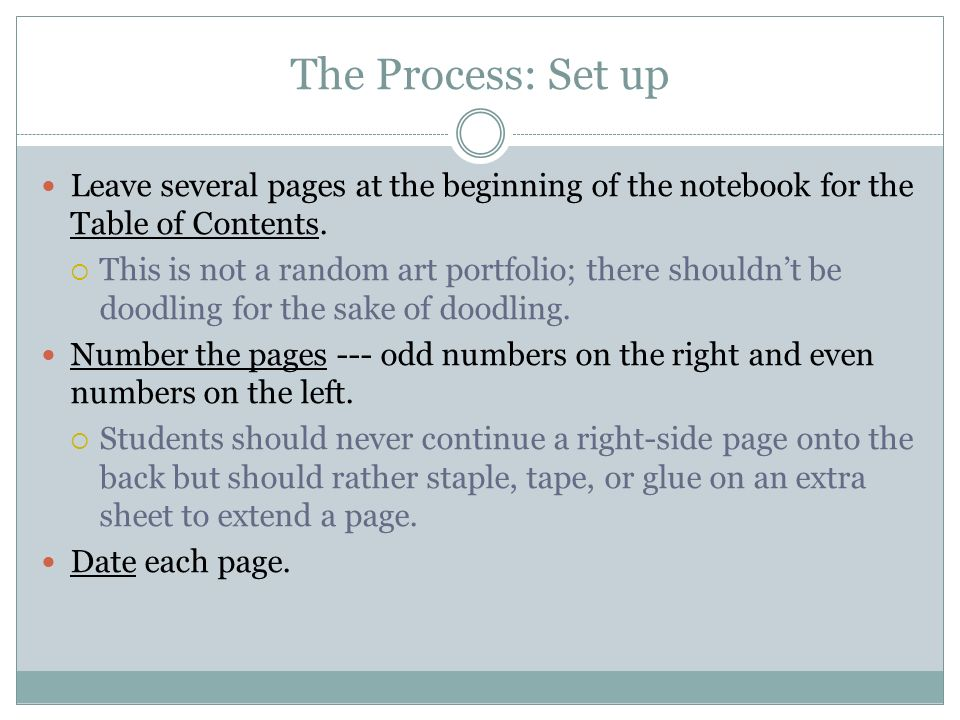 The Process: Set up Leave several pages at the beginning of the notebook for the Table of Contents.