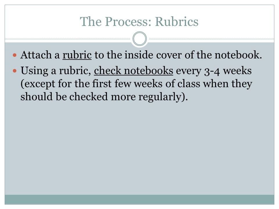 The Process: RubricsAttach a rubric to the inside cover of the notebook.