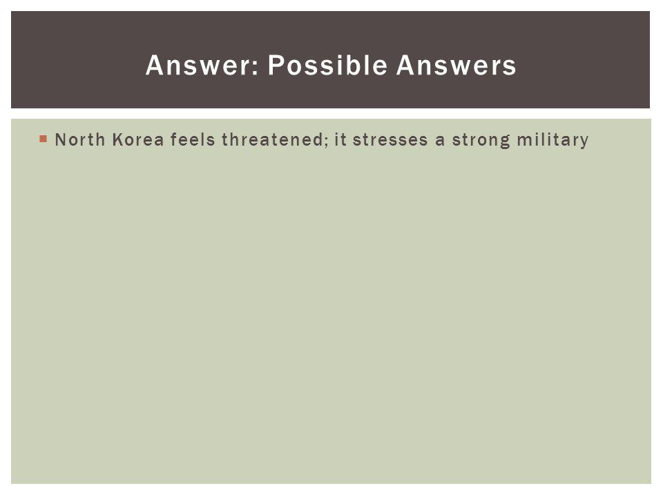 Answer: Possible Answers