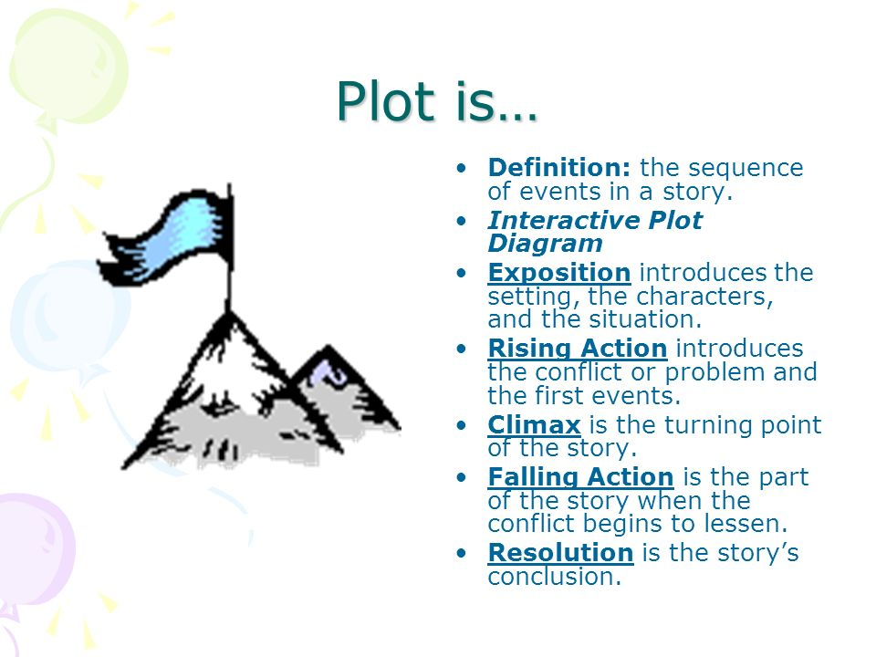 Plot is… Definition: the sequence of events in a story.