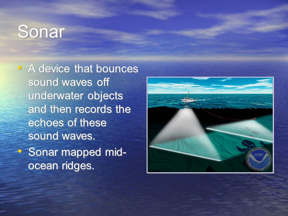SonarA device that bounces sound waves off underwater objects and then records the echoes of these sound waves.