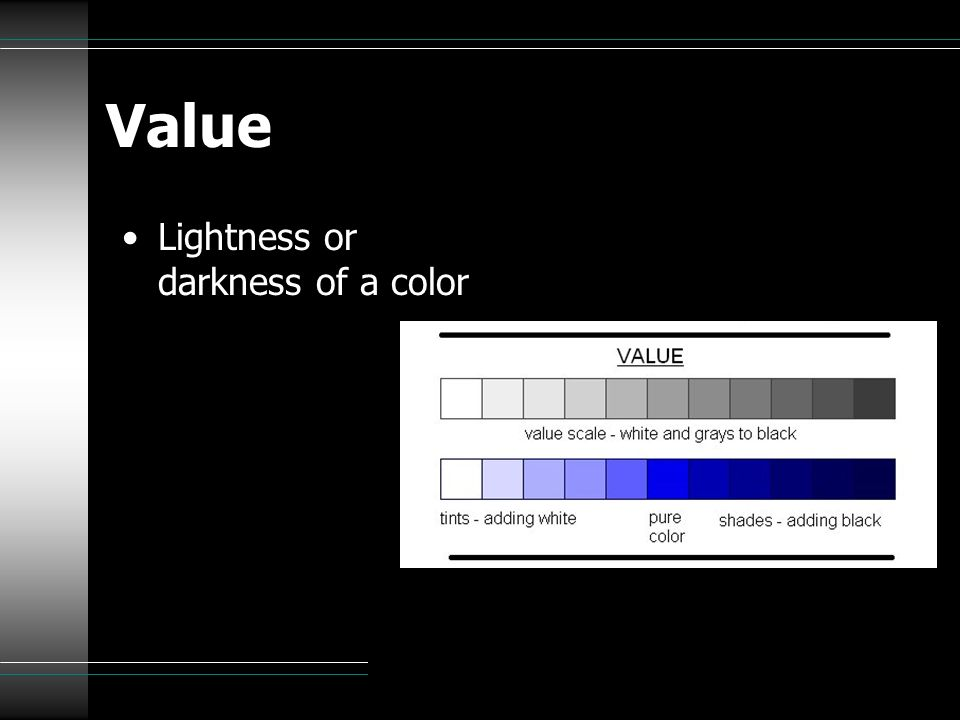 Value Lightness or darkness of a color