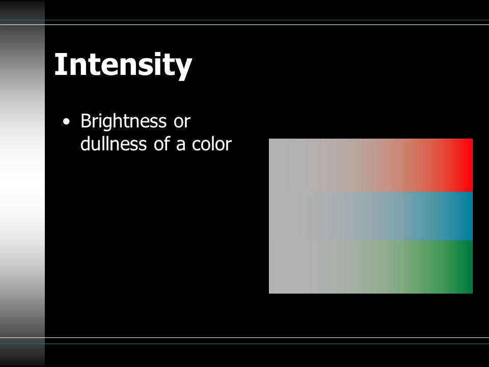 Intensity Brightness or dullness of a color
