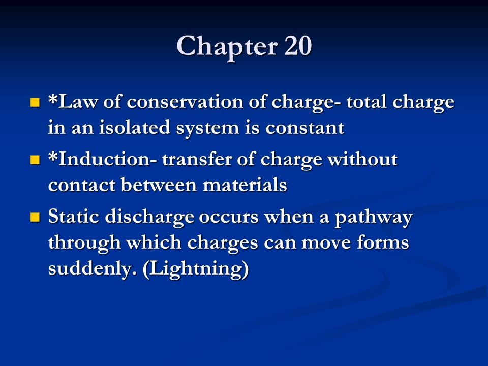 Chapter 20 *Law of conservation of charge- total charge in an isolated system is constant.