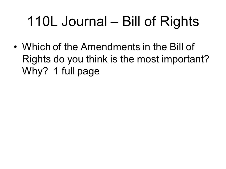 110L Journal – Bill of Rights