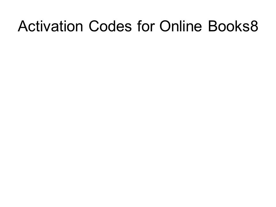 Activation Codes for Online Books8