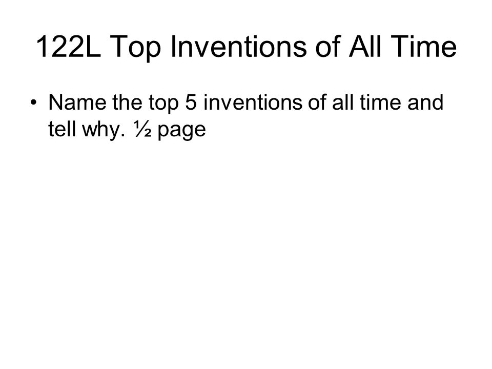 122L Top Inventions of All Time