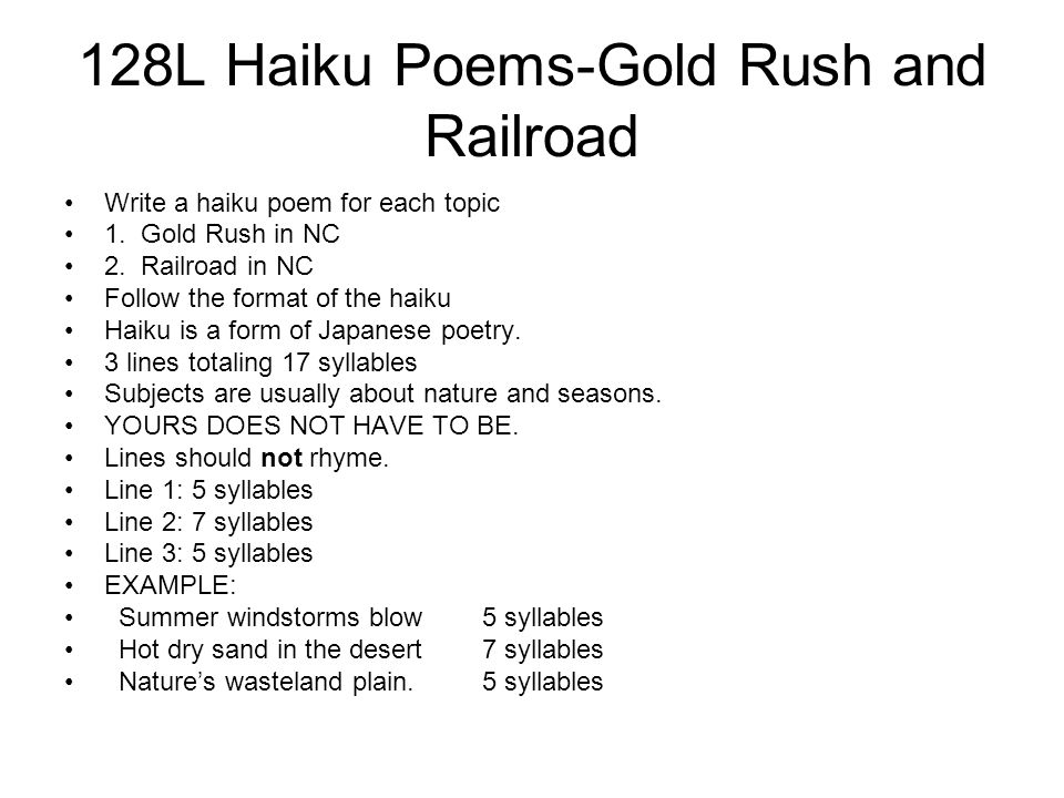 128L Haiku Poems-Gold Rush and Railroad
