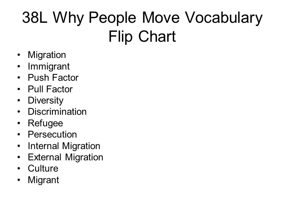 38L Why People Move Vocabulary Flip Chart