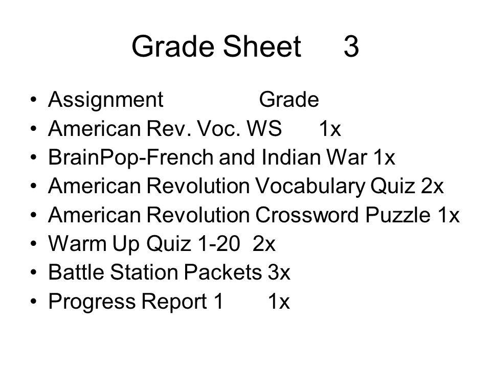 Grade Sheet 3 Assignment Grade American Rev. Voc. WS 1x