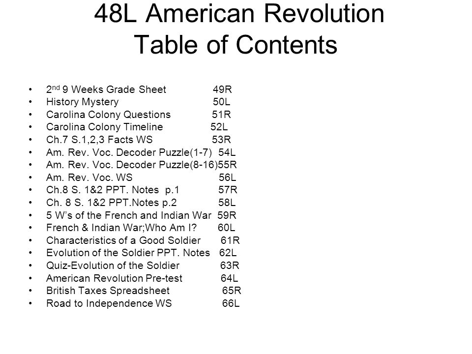 48L American Revolution Table of Contents