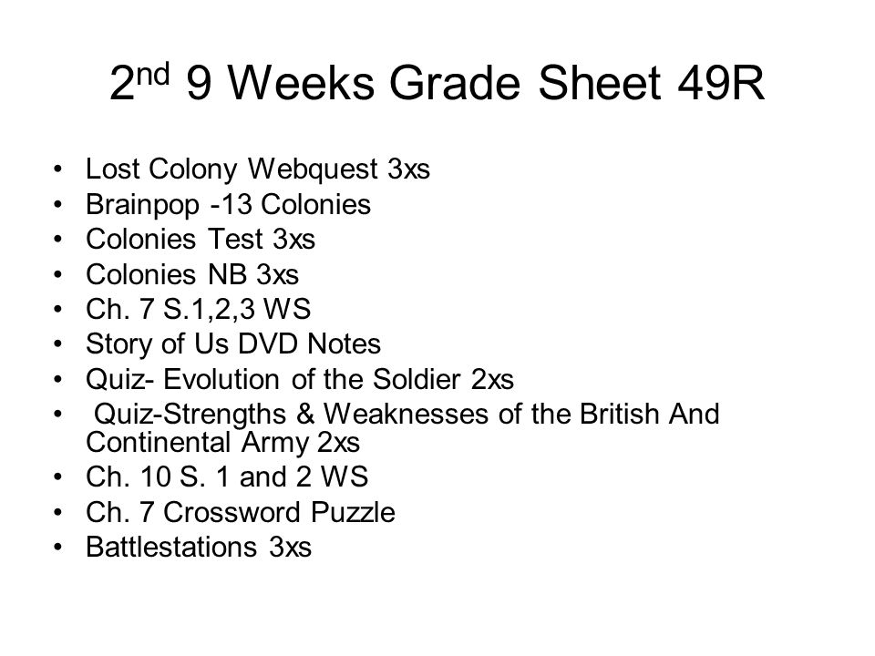 2nd 9 Weeks Grade Sheet 49R Lost Colony Webquest 3xs