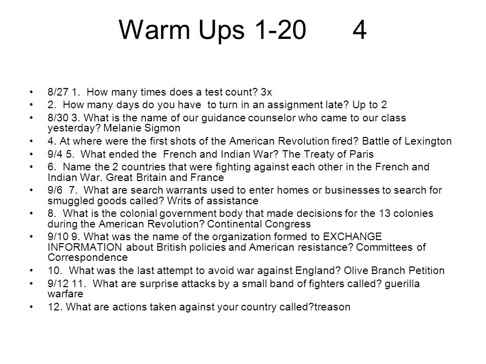 Warm Ups 1-20 4 8/27 1. How many times does a test count 3x
