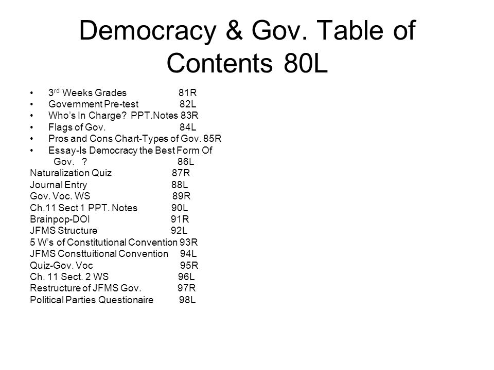 Democracy & Gov. Table of Contents 80L