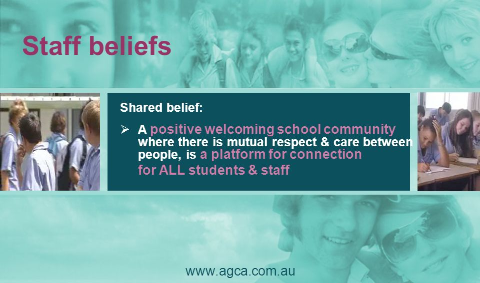 Staff beliefs for ALL students & staff www.agca.com.au Shared belief: