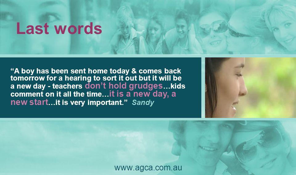 Last words www.agca.com.au