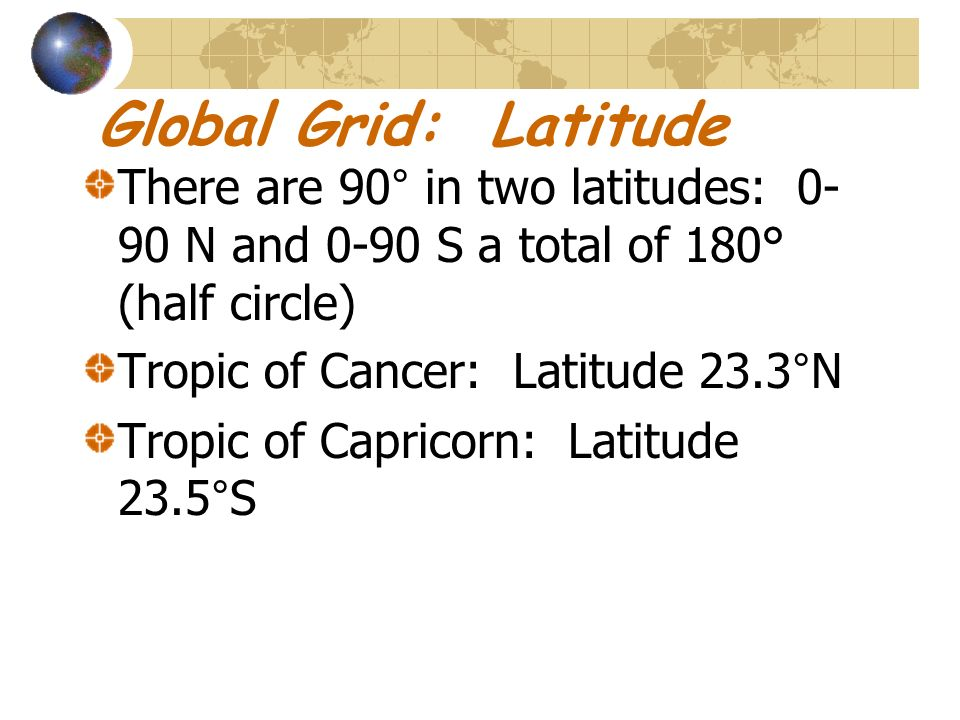 Global Grid: Latitude There are 90° in two latitudes: 0-90 N and 0-90 S a total of 180° (half circle)