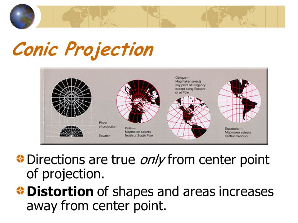 Conic Projection Directions are true only from center point of projection.