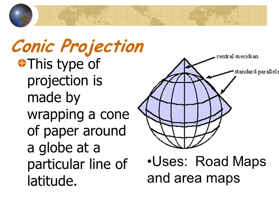 Conic Projection This type of projection is made by wrapping a cone of paper around a globe at a particular line of latitude.
