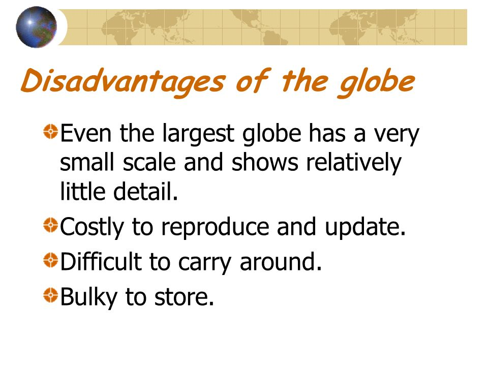 Disadvantages of the globe