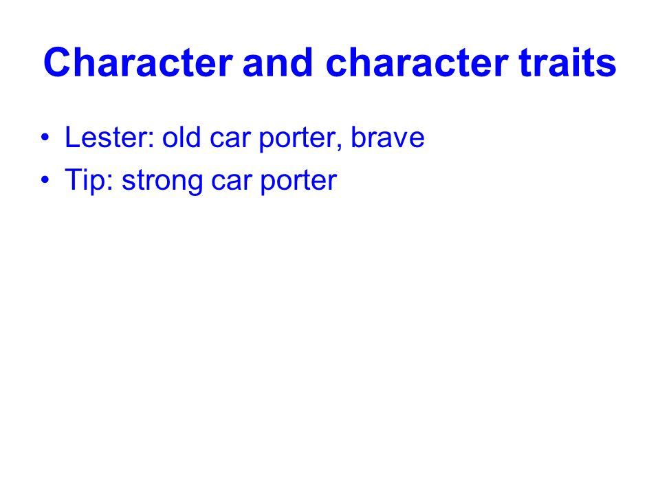 Character and character traits