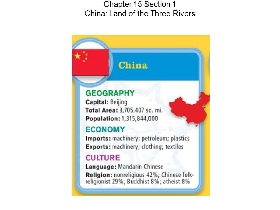 Chapter 15 Section 1 China: Land of the Three Rivers