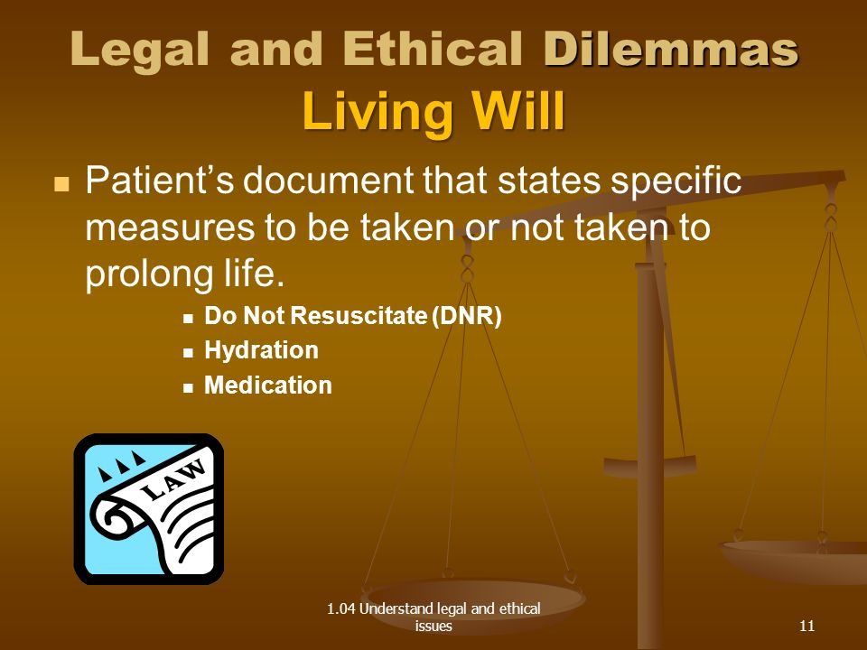 Legal and Ethical Dilemmas Living Will