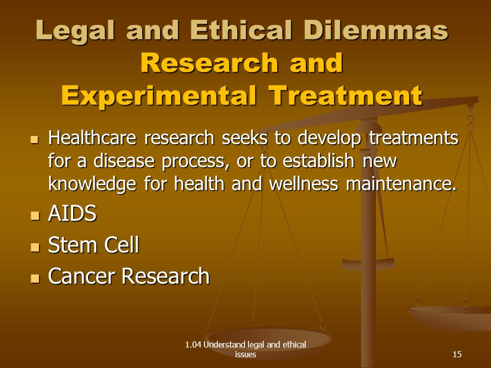 Legal and Ethical Dilemmas Research and Experimental Treatment