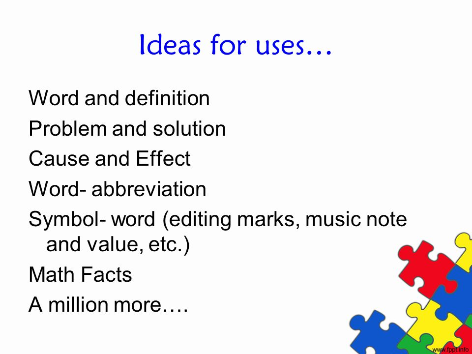 Ideas for uses… Word and definition Problem and solution